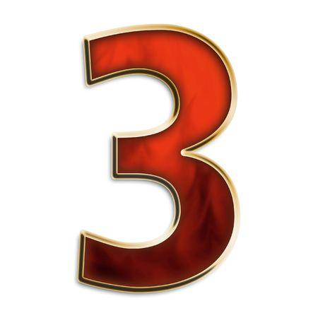 resplandor: N�mero 3 en rojo ardiente & oro aislados en serie blanco