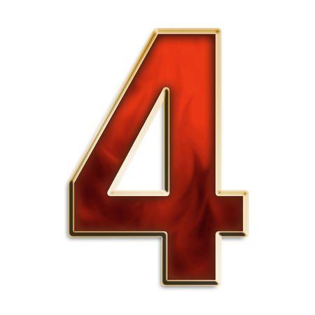 燃えるような赤い & ホワイト シリーズ上で分離されて金の番号 4 写真素材