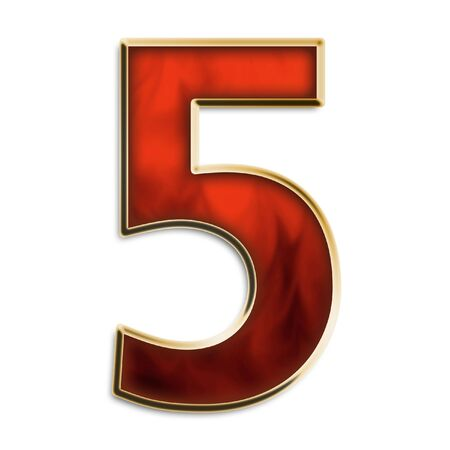gold metal: Number 5 in fiery red & gold isolated on white series