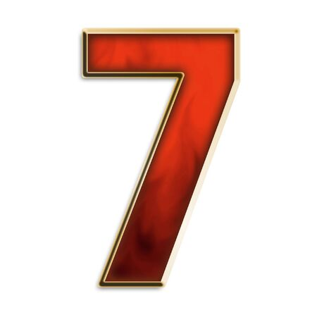 Number 7 in fiery red & gold isolated on white series photo