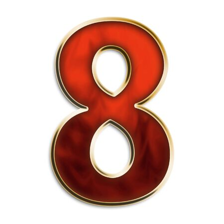 Number 8 in fiery red & gold isolated on white series photo