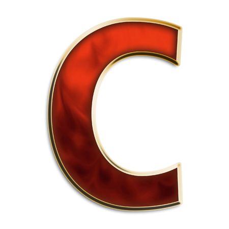 Capital C in feurigen Rot und Gold isoliert auf weißem Standard-Bild - 2972845