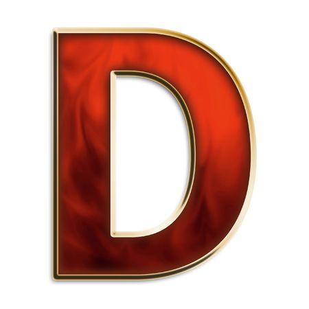 Kapitaal D in fiery rood & goud geïsoleerd op wit Stockfoto