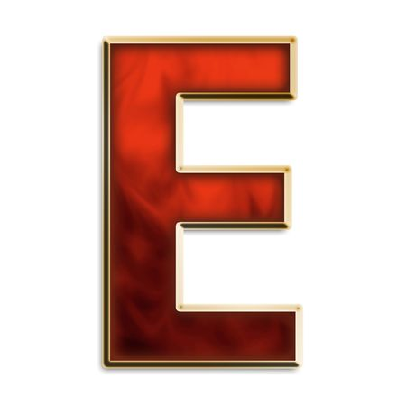 Capital E in fiery red & gold isolated on white