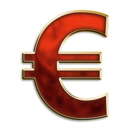 Euro symbol in fiery red & gold isolated on white photo