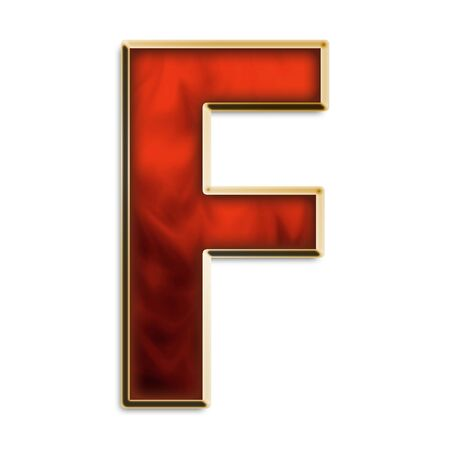 upper case: Capital F in fiery red & gold isolated on white