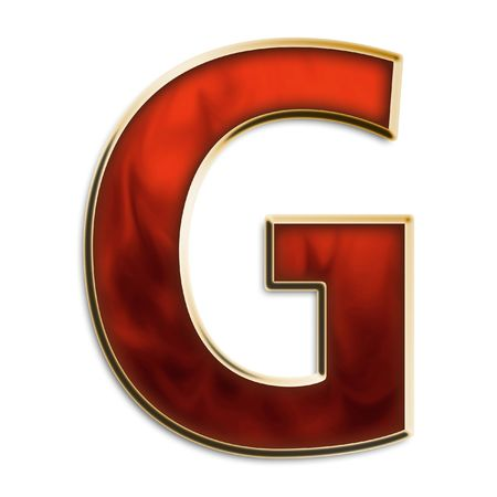 Capital G in vurig rood en goud geïsoleerd op wit