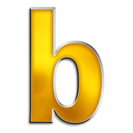 3d lowercase b in shiny yellow gold isolated on white series photo