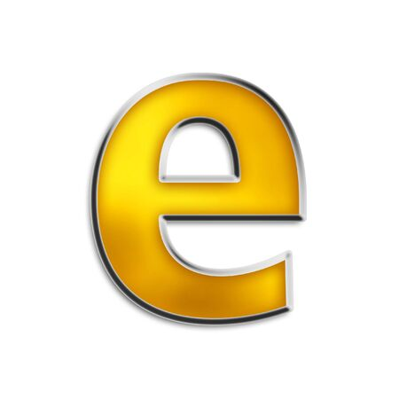 3d lowercase e in shiny yellow gold isolated on white series