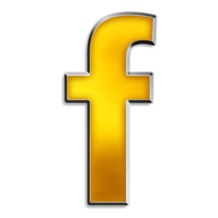 3d lowercase f in shiny yellow gold isolated on white series photo