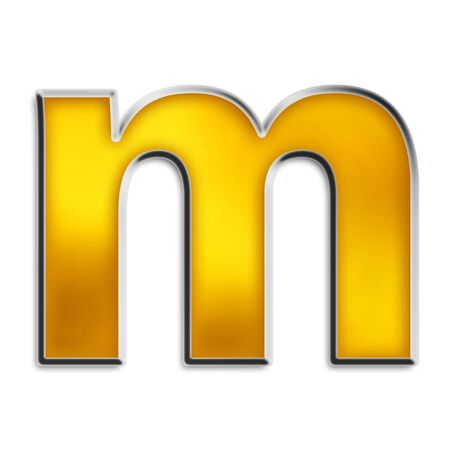 3d lowercase m in shiny yellow gold isolated on white series photo