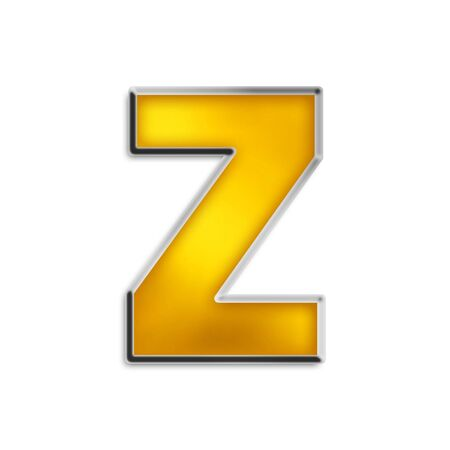 3d lowercase z in shiny yellow gold isolated on white series photo