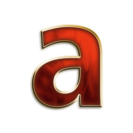 Lowercase a in fiery red & gold isolated on white series photo