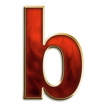 Lowercase b in fiery red & gold isolated on white series