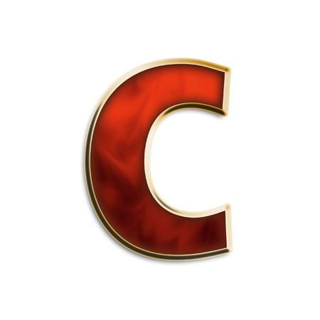 Lowercase c in fiery red & gold isolated on white series