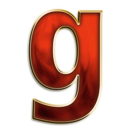 Lowercase g in fiery red & gold isolated on white series photo