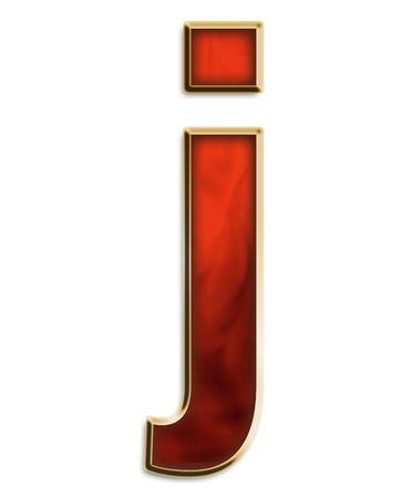 Lowercase j in fiery red & gold isolated on white series Stock Photo