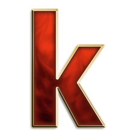 Lowercase k in fiery red & gold isolated on white series photo
