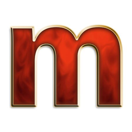 Lowercase M in fiery red & gold isolated on white series