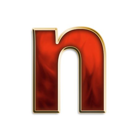 Lowercase N in fiery red & gold isolated on white series