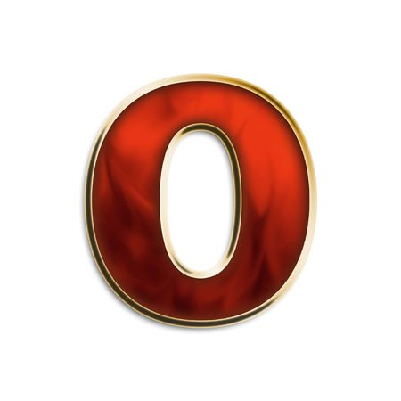 Lowercase O in fiery red & gold isolated on white series