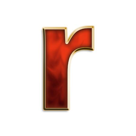 Lowercase R in fiery red & gold isolated on white series Standard-Bild