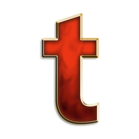 Lowercase T in fiery red & gold isolated on white series photo