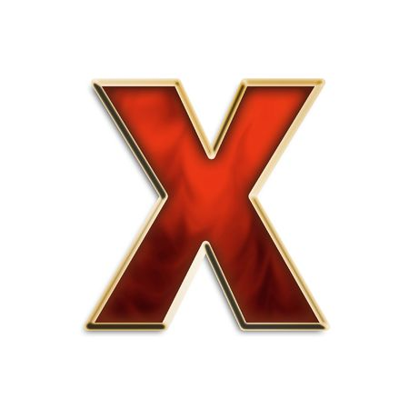 red x: Lowercase X in fiery red & gold isolated on white series