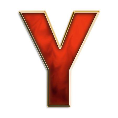 Capital Y in vurig rood en goud geïsoleerd op wit