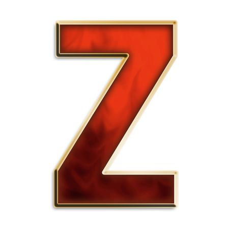 Capital Z in fiery red & gold isolated on white photo