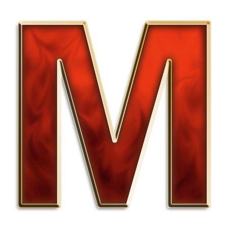 Kapitaal M in fiery rood & goud geïsoleerd op wit