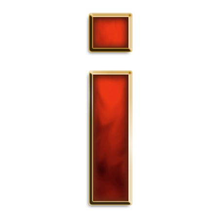 Lowercase i in fiery red & gold isolated on white series
