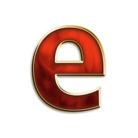 Kleine letters e in vurig rood en goud geïsoleerd op wit serie Stockfoto