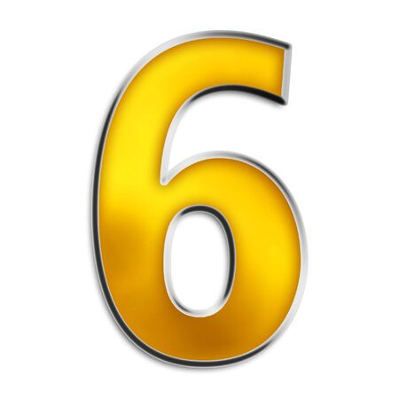 3d number 6 in shiny yellow gold isolated on white series Stock Photo - 2989060