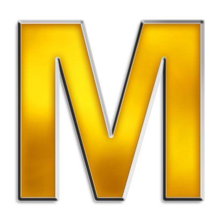 uppercase: 3D capital M en oro amarillo brillante aislados en blanco
