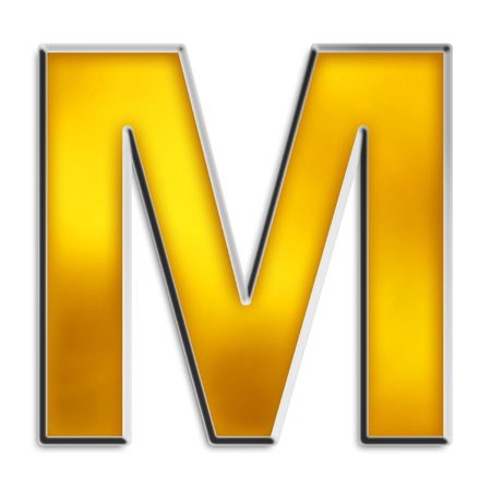3D capital M in shiny yellow gold isolated on white