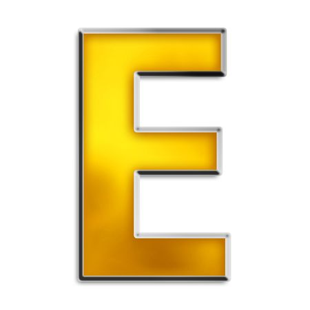 3D capital E in shiny yellow gold isolated on white Stock Photo