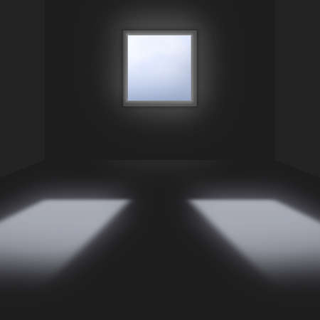 conceptional: 3d conceptional dark room with single window & two reflections Stock Photo