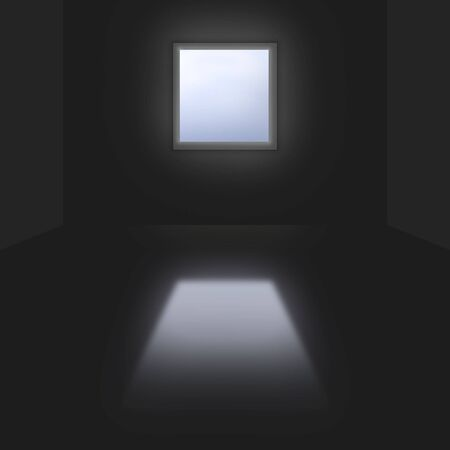 hope symbol of light: 3d conceptional dark room with single bright window & reflection