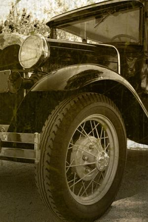 jalopy: Vintage black automobile