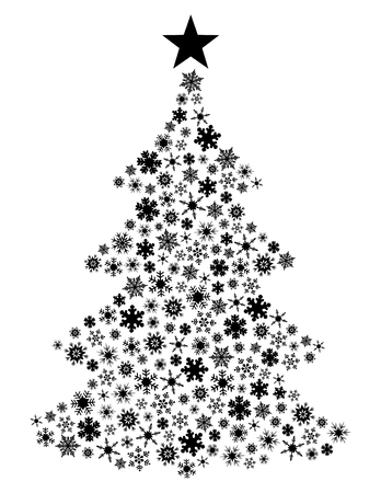 Vector snowflake Christmas Tree Illustration