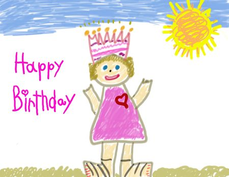 drawing large: Happy Birthday child drawing