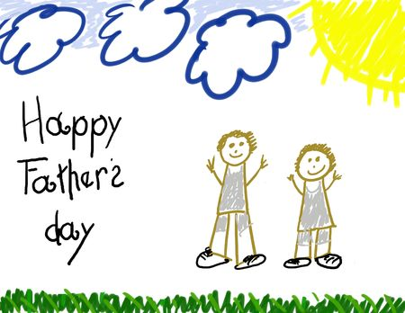 Happy Father's Day child drawing Stock Photo - 3057211