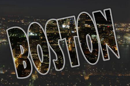 Boston, Massachusetts cityscene at night with text photo