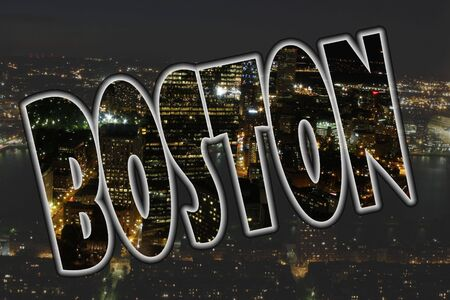 nightime: Boston, Massachusetts cityscene at night with text Stock Photo