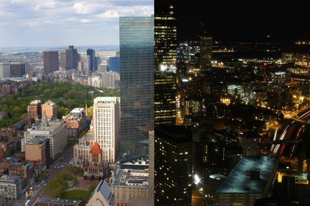 night: Night & day cityscape view of Boston, Massachusetts