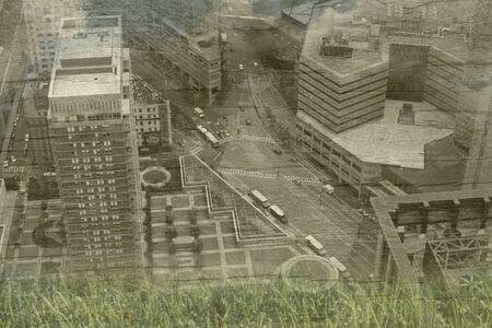 Conceptual cityscape view going green