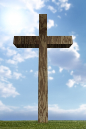 3d wooden cross in open field Stock Photo - 3141871