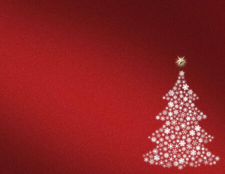 Snowflake Christmas tree on red background Stock Photo - 3200792