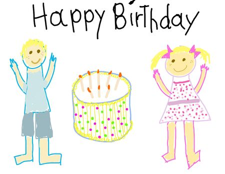 Child like drawing of a boy & girl with Happy Birthday Stock Photo - 3209147